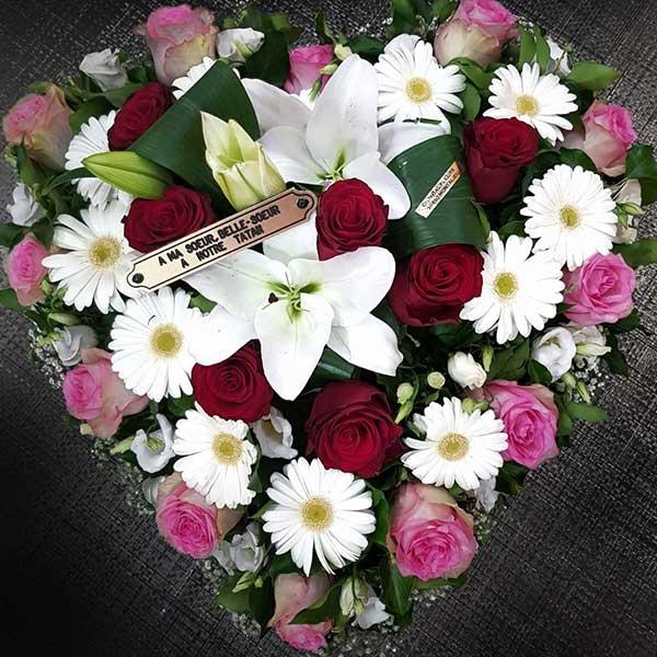 Bar à fleurs Montalieu - coussin deuil forme cœur