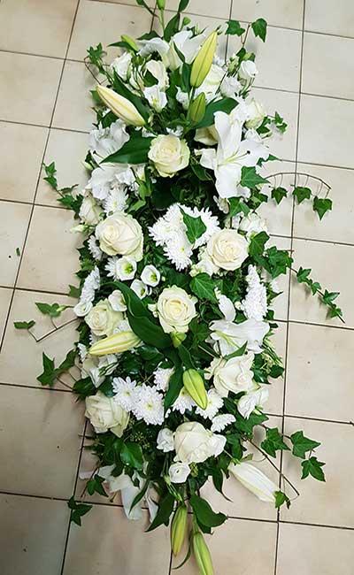 Bar à fleurs Montalieu - gerbe deuil fleurs blanches