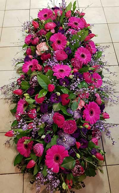 Bar à fleurs Montalieu - gerbe deuil fleurs roses fuschia