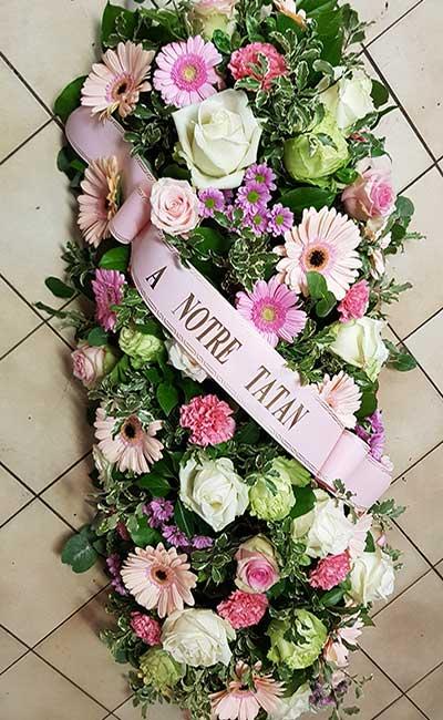 Bar à fleurs Montalieu - gerbe deuil fleurs blanches et roses