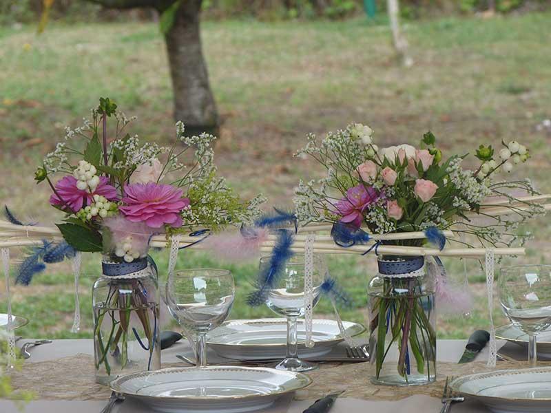 Bar à fleurs Montalieu - décoration de table champêtre